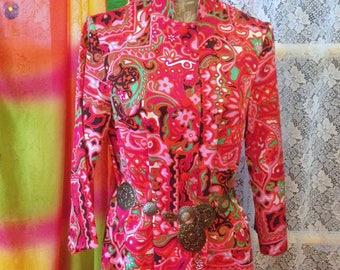 Psychedelic Dress Vintage 60s Mod Hippie Size 10 boho 60s Pink Dress Nehru Collar