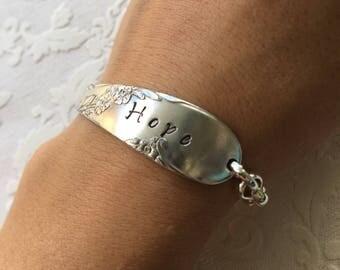 Hope stamped spoon handle bracelet