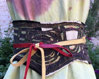 Ancestry Cloth Obi Belt #43 - One of a Kind Wearable Fine Art, Dawn Patel Art, leather belt, repurposed leather, Wide belt, Corset Belt
