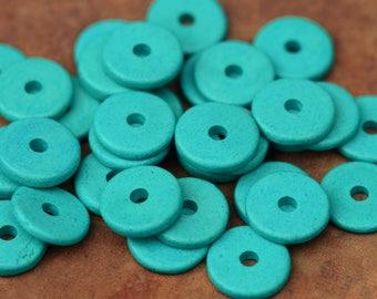 10 Turquoise Mykonos Greek Ceramic 13mm Round Beads