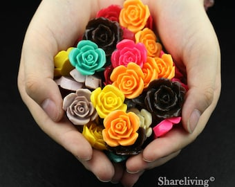 Clearance Sale -  Lots of 100pcs Mixed Color 3D Resin Rose Flower Cabochons Charms  -- CLS004C