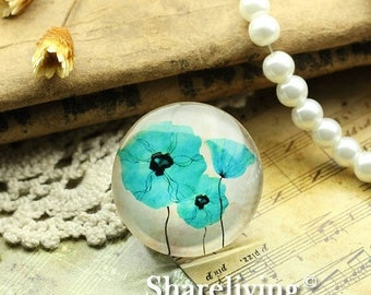 SALE - 30% OFF Glass Cabochon, 8mm 10mm 12mm 14mm 16mm 20mm 25mm 30mm Round Handmade photo glass Cabochons  (Flower) -- BCH733A
