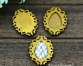 4pcs Antique Teardrop Wood Tray,  Vintage Wooden Filigree Frame Setting Charm / Pendant, 18x25mm, Perfect for Necklace  HW740C