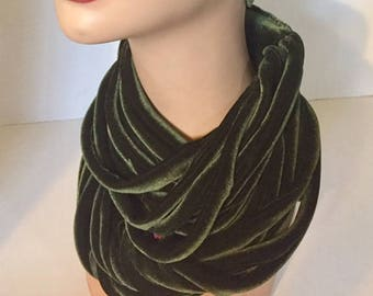 Olive Green Velvet Rope Scarf