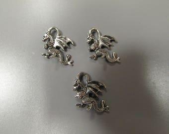 Silver Dragon Tibetan Charm X 3