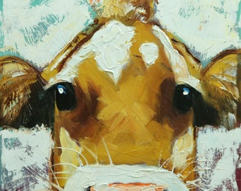 Cow painting 1235 12x12 inch original animal portrait oil painting by Roz