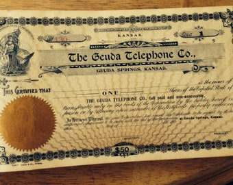 Vintage Stock Certificates with Wonderful Artwork Certificate Dated 1900s