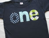 Boys ONE Shirt for First Birthday - 12-18 month short sleeve, navy blue shirt with aqua chevron lime green navy blue polkaot lettering