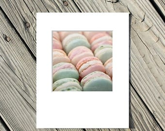 40% OFF SALE Food Photograph, French Macarons, Still Life Photo, Paris, Pink, Green, Blue, White -5x5 inch print matted to 8x10 inches - Par