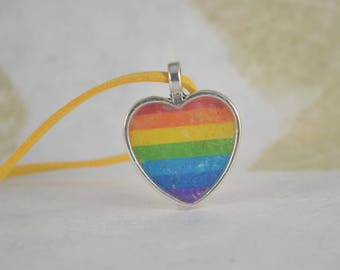 Gay Rainbow HEART Pendant Necklace - Yellow Suede Like Neck Cord