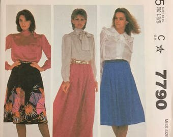 80's McCall's 7790 Misses' Skirts  size Small Waist 25-26 inches  Uncut Complete Sewing Pattern