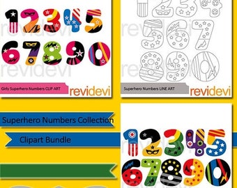 35% OFF SALE Superhero numbers collection clipart bundle - numbers clip art - digital clipart - instant download - commercial