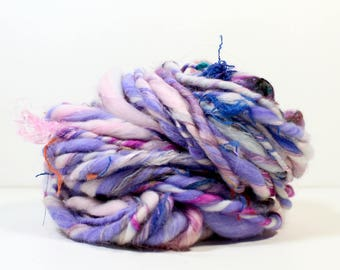 loveable .. hand spun art yarn, wool yarn, handspun, soft rainbow knitting wool, weaving, crochet supply
