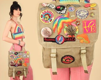 Vintage American Beauty Road Bag // 1960's Grateful Dead Hippie Stoner Harley Davidson Patches Military Biker Deadhead Messenger Weekender