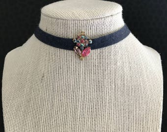 Blue jean choker with vintage rhinestone centerpiece - Found Object Assemblage Necklace, OOAK, repurposed, wide, OOAK, sparkle, pink, purple