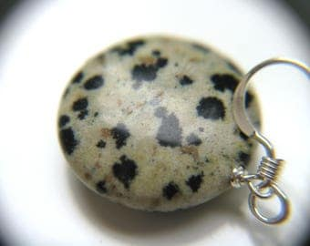 Dalmatian Jasper Earrings . White and Black Earrings . Circle Stone Earrings . Pet Loss Jewelry - Adriatic Collection