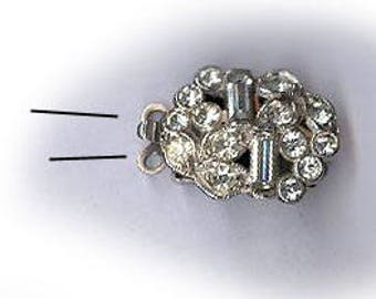 vintage rhinestone clasp, art deco ornate oval, TWO STRAND CLASP antique jewelry clasp bridal finding