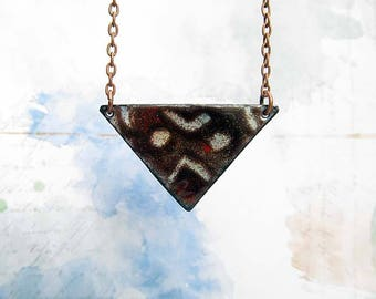 Long Necklace Boho Necklace African Triangle Pendant Necklace Geometric Jewelry Gift for Her under 30