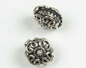 SHOP SALE Puffy Hearts and Dots Disc Bead Bali Sterling Silver 14mm Antiqued Sterling Silver Focal Bead (1 bead)