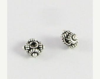 SHOP SALE Bali Sterling Silver Square Spacer Beads 7mm with Coils and Dots (2 beads)
