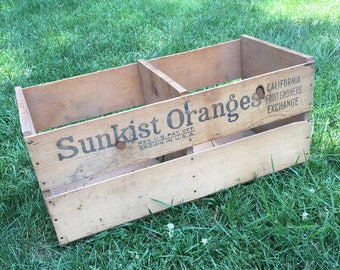 Wooden Fruit Crate Extra Large Size Divided California Sunkist Oranges SkyRocket Brand Rustic Wood