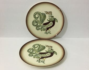 Brock of California Chanticleer Rooster Plate Pottery Set of Two Chicken Farmhouse Decor