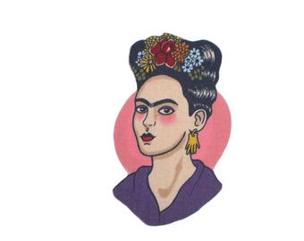 Frida Mexican Art Iron On Patch Applique DIY No Sew