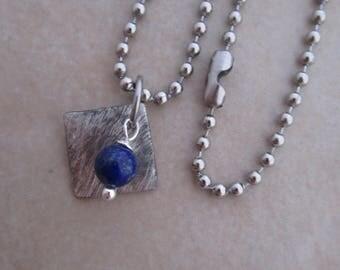 lapis lazuli necklace blue silver soldered copper girls women