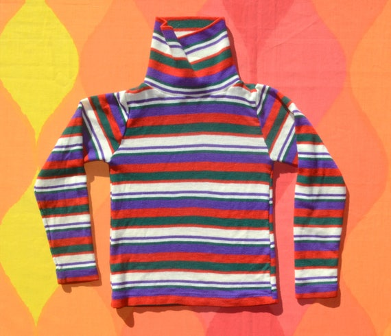 vintage 70s kid's turtleneck STRIPES ribbed preppy red white ski long sleeve t-shirt youthpark 7 8 Small
