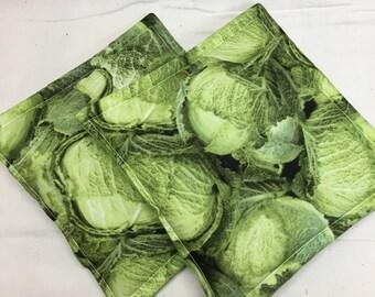 Cabbage Print Potholder set of 2