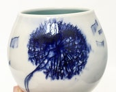 One Blue Dandelion Porcelain Tumbler - MADE TO ORDER
