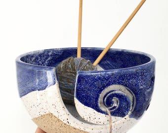 Beach Scene  - Wheel Thrown Yarn Bowl - MADE TO ORDER