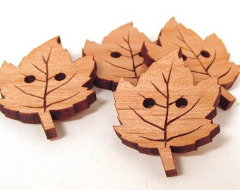 RESERVED - 9 Wooden Leaf Buttons