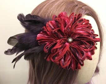 Plum & Cranberry hair clip