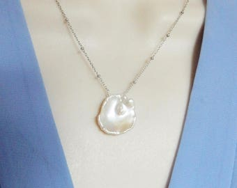 White  keishi pearl necklace  with rhodium sterling silver satellite  chain, cultured freshwater pearl, bridal jewelry