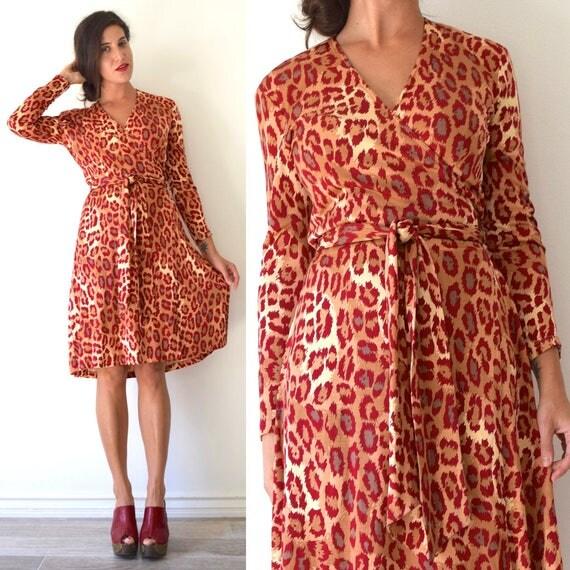 Vintage 80s 90s Diane Von Fursternberg Leopard Print Long Sleeved Silk Jersey Wrap Dress (size small, medium)