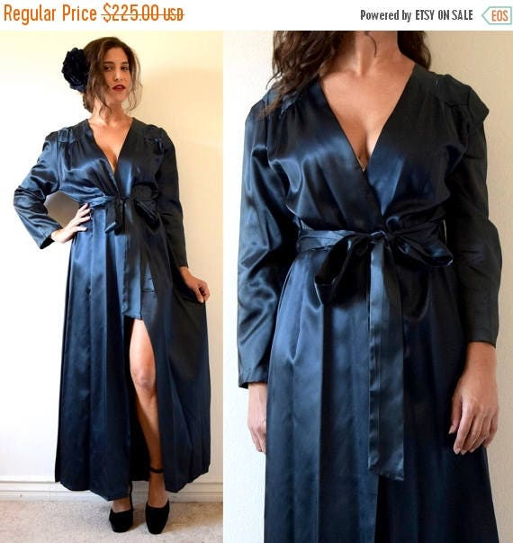 SUMMER SALE / 20% off Vintage 30s Midnight Starlet Inky Black Satin Peignoir Dressing Robe