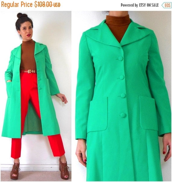 SUMMER SALE / 20% off Vintage 60s 70s Fred Rothschild Clover Green Tailored Coat (size small, medium)