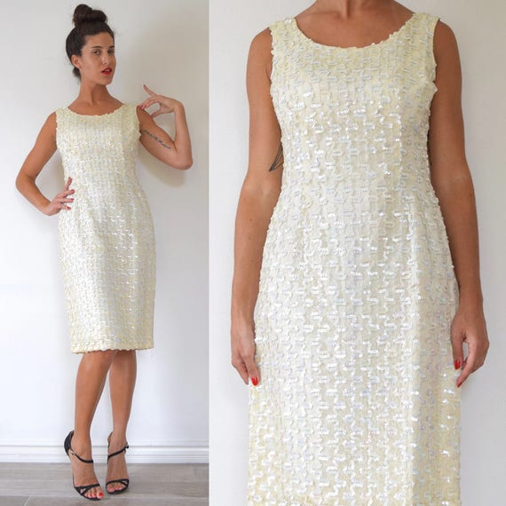 SUMMER SALE/ 30% off Vintage 50s 60s Iridescent Sequined Ivory Lace Hourglass Silhouette Wiggle Dress (size medium)