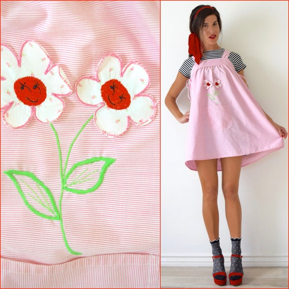 Vintage 70s Pocket Full of Posies Bubblegum Pink and White Striped Jumper with 3-D Daisy Appliques (one size fits all)