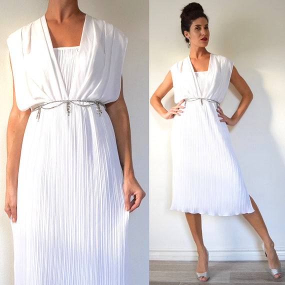 Vintage 70s 80s White Accordion Folded Grecian Draped Cocktail Dress (size xs, small)