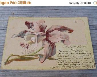 ON SALE Vintage Antique  Botanical  postcard  Lily soft colors  illustration