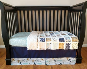 Vintage Air Plane Crib Set for Baby Boy - Airplane Baby Bedding - Vintage Travel Crib Bedding Bumperless Bedding - Crib Sheet - Crib Skirt