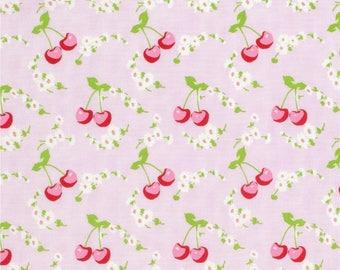 YARD - Tanya Whelan Fabric, Rambling Rose, Cherries, Pink Floral cotton quilting fabric