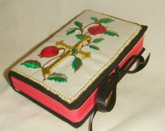 Mini Bible with Embroidered Cover Pomegranates Entirely Handmade inv1828