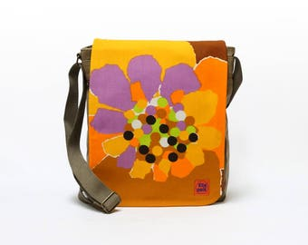 Vicky - Upcycled Canvas Crossbody Bag, Messenger Bag, 70s Bag, Orange Shoulder Bag, Vintage Fabric Bag by EllaOsix