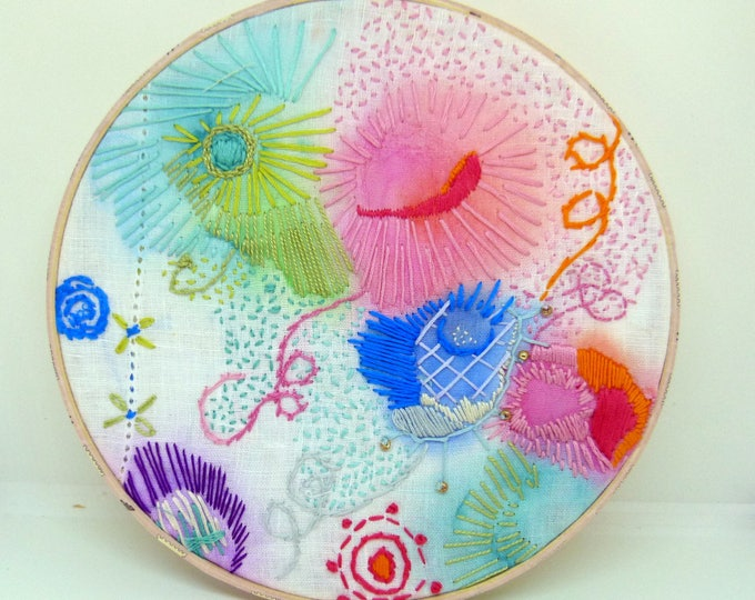 Embroidery hoop art. contemporary embroidery. Wall Art - Hand Made - ColorCraze
