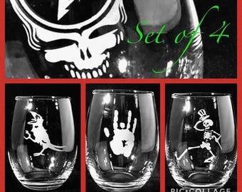 Grateful Dead Etched Wine Glass Stemless Set of Four Glasses Sandblasted