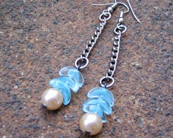1/2 PRICE SALE Eco-Friendly Dangle Earrings - A Wing and A Prayer - Recycled Vintage Chain, Sky Blue Glass Beads & Creamy White Glass Pearls