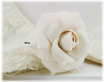 White Rose Hair Clip Pin - White Rose Hair Flower, White Flower Hair Pin